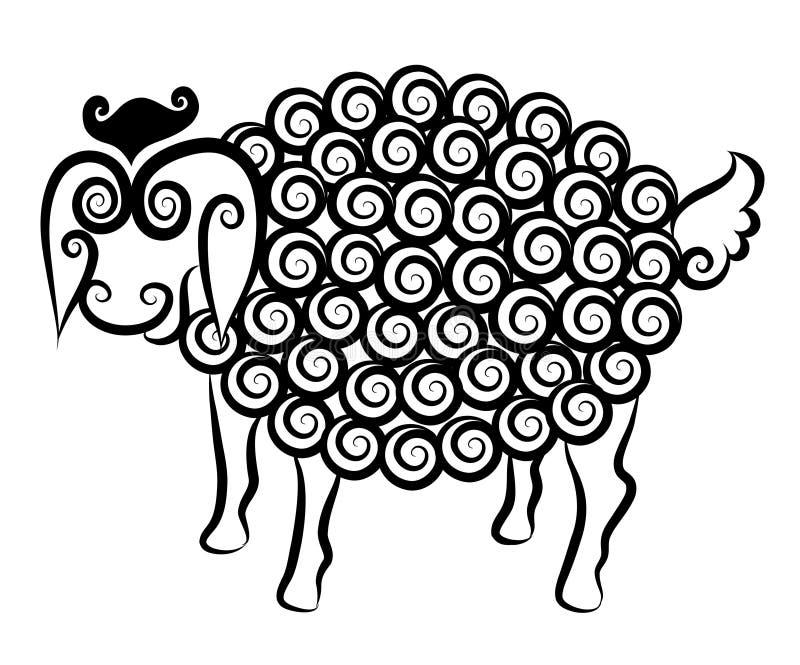 милые декоративные овцы иллюстрация штока