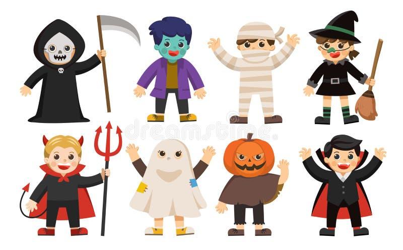 Милые дети в красочных костюмах иллюстрация штока