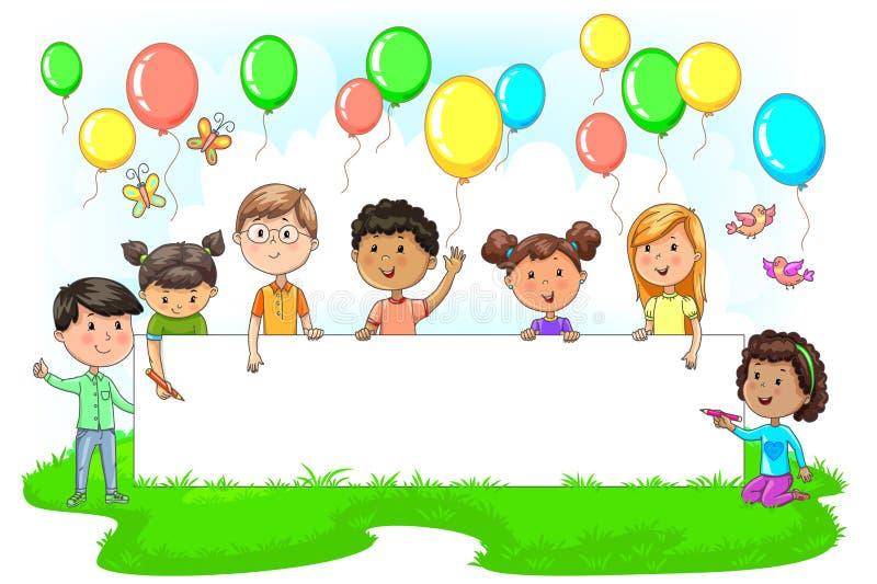Милые дети держа пустое праздничное знамя покрасили шарики вокруг иллюстрация вектора