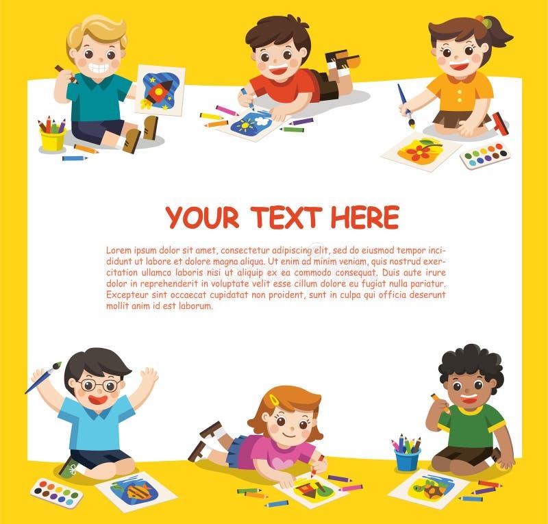 Милые дети имеют потеху и подготавливают для того чтобы получить красящ совместно бесплатная иллюстрация