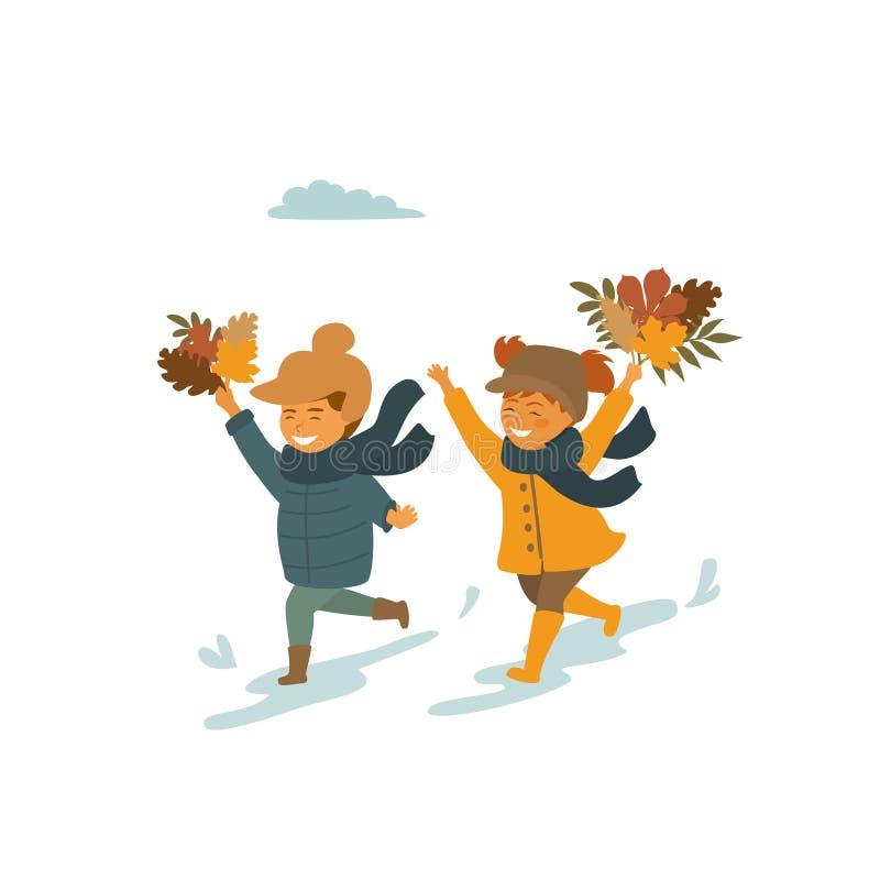 Милые дети, мальчик и девушка бежать с листьями падения осени в изолированной парком иллюстрации вектора бесплатная иллюстрация