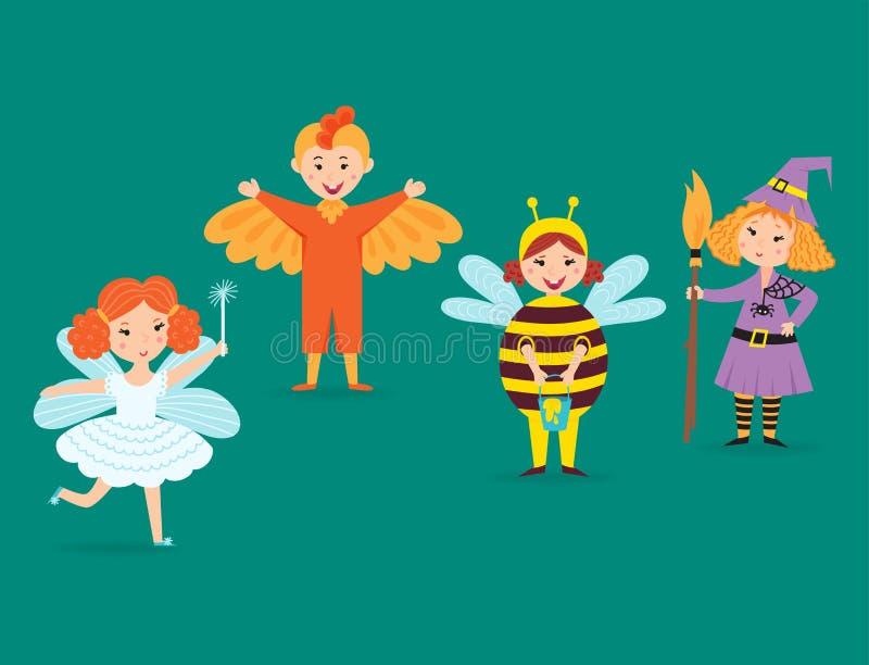 Милые дети нося рождество костюмируют иллюстрацию праздников детей маленьких людей характеров вектора жизнерадостную иллюстрация штока