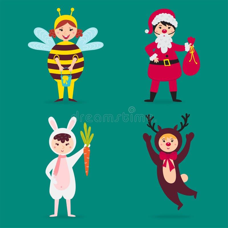 Милые дети нося рождество костюмируют иллюстрацию праздников детей маленьких людей характеров вектора изолированную жизнерадостну иллюстрация вектора
