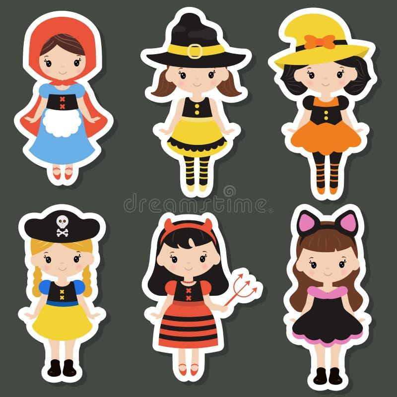 Милые дети шаржа в красочных костюмах хеллоуина бесплатная иллюстрация