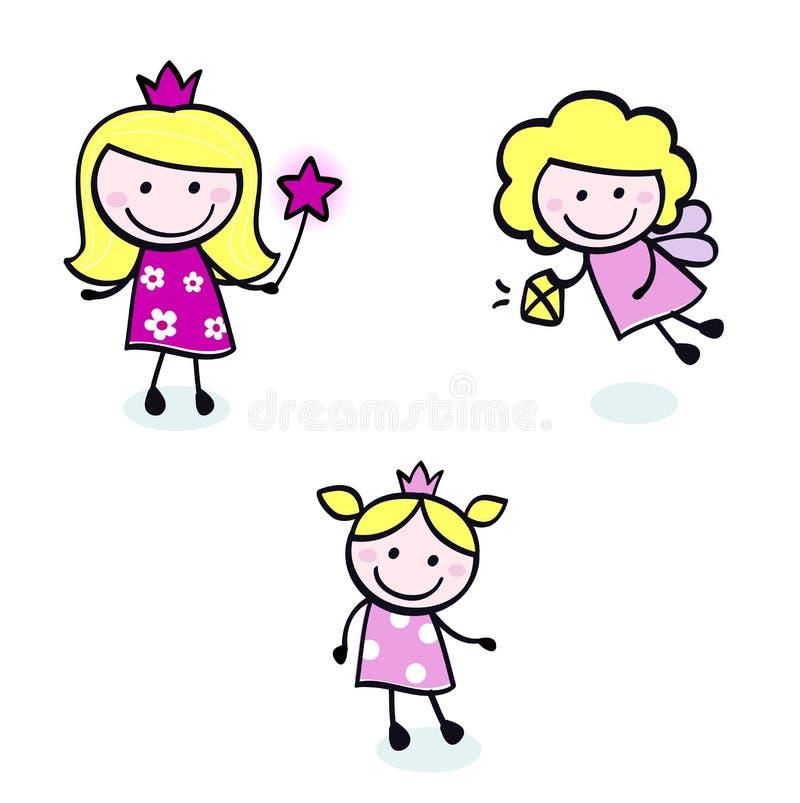 милые диаграммы стежок фе doodle princess установленный иллюстрация штока