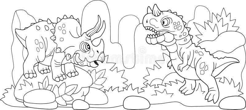 Милые доисторические динозавры, книжка-раскраска, смешная иллюстрация иллюстрация вектора