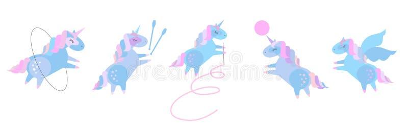 Милые единороги младенца в звукомерной гимнастике Установите красивого пони делая звукомерную гимнастику с лентой, шариком, обруч иллюстрация штока