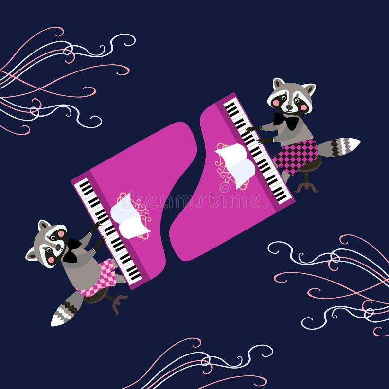 Милые еноты шаржа - музыканты Красивая карточка при характеры шаржа животные играя рояль иллюстрация вектора