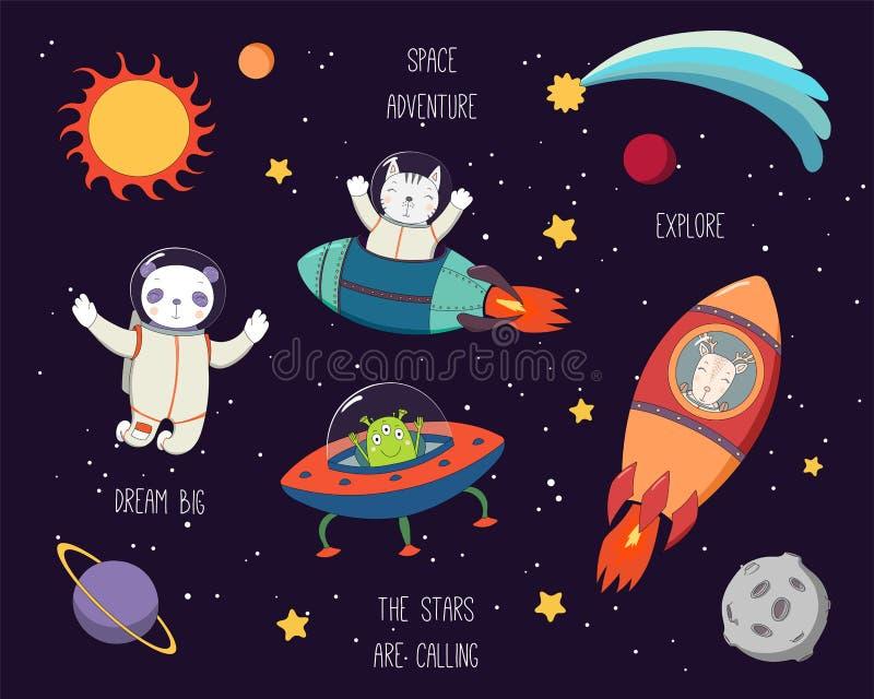 Милые животные в комплекте космоса бесплатная иллюстрация