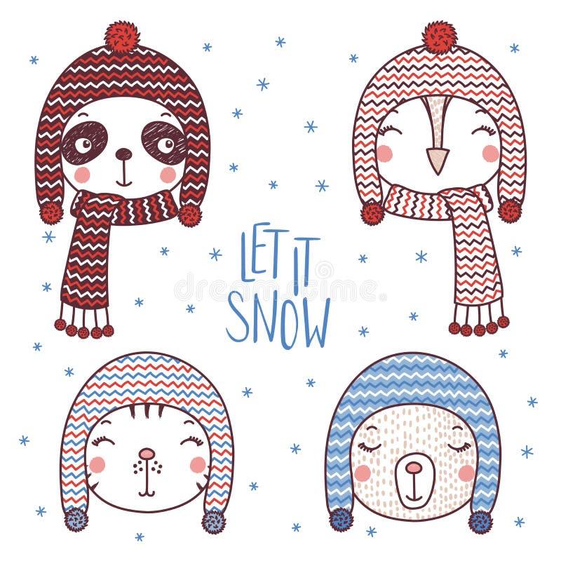 Милые животные в теплых шляпах иллюстрация штока