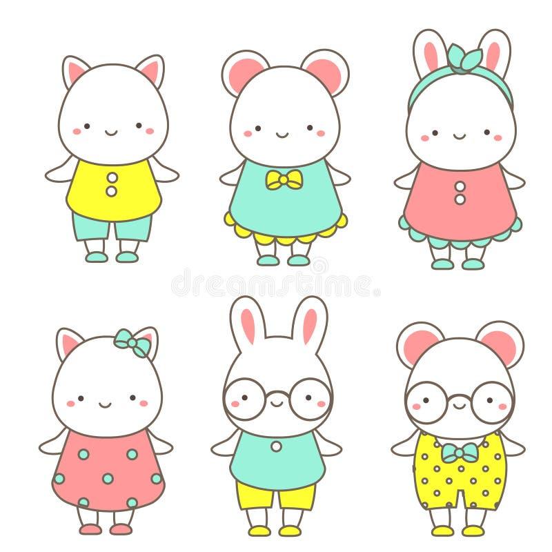 Милые животные Кролик, мышь и кот Kawaii Искусство зажима вектора для стикеров, значков бесплатная иллюстрация