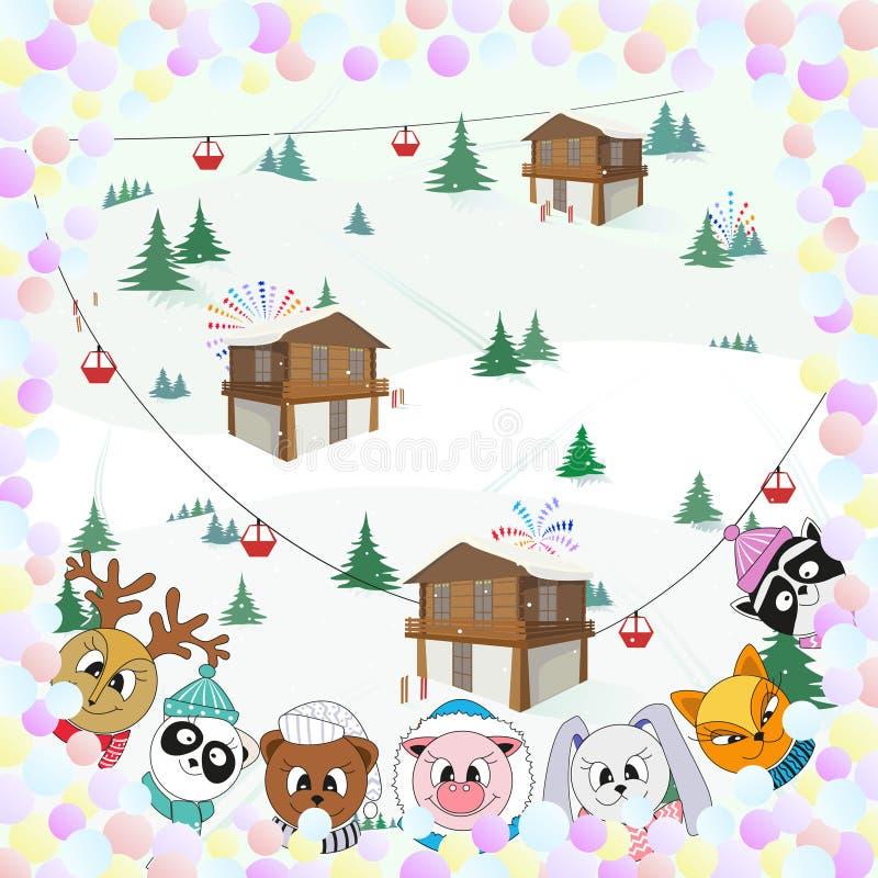 Милые животные, ландшафт зимы, иллюстрация цвета рождества иллюстрация штока