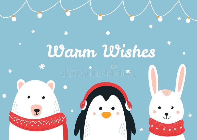 Милые животные полесья Грейте желания рождество и карточку вектора зимнего отдыха иллюстрация штока