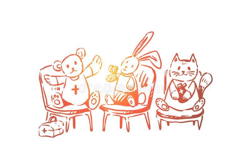 Милые животные, роль играя, плюшевый мишка, зайчик и кот в повязках, бортовая аптечка, детская больница бесплатная иллюстрация