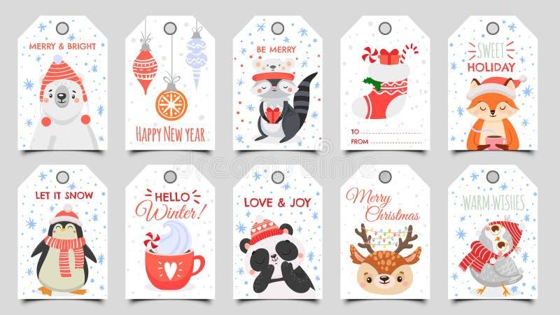 Милые животные христма праздничный подарочный ярлык с зимней совой, оленями и медведями Счастливые животные празднуют карикатуру  иллюстрация штока