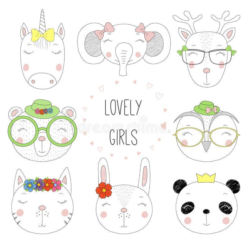 Милые животные doodles портретов иллюстрация штока