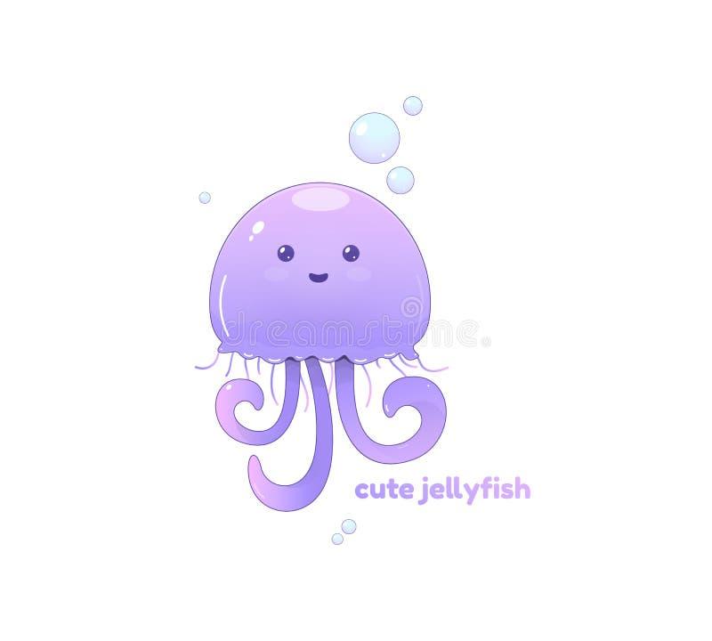 Милые жизнерадостные медузы фиолетового цвета, на белой предпосылке бесплатная иллюстрация