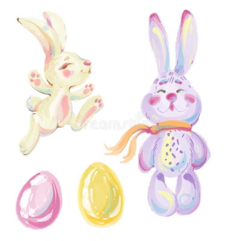 Милые зайчики кроликов пасхи с пасхальными яйцами стоковое фото rf