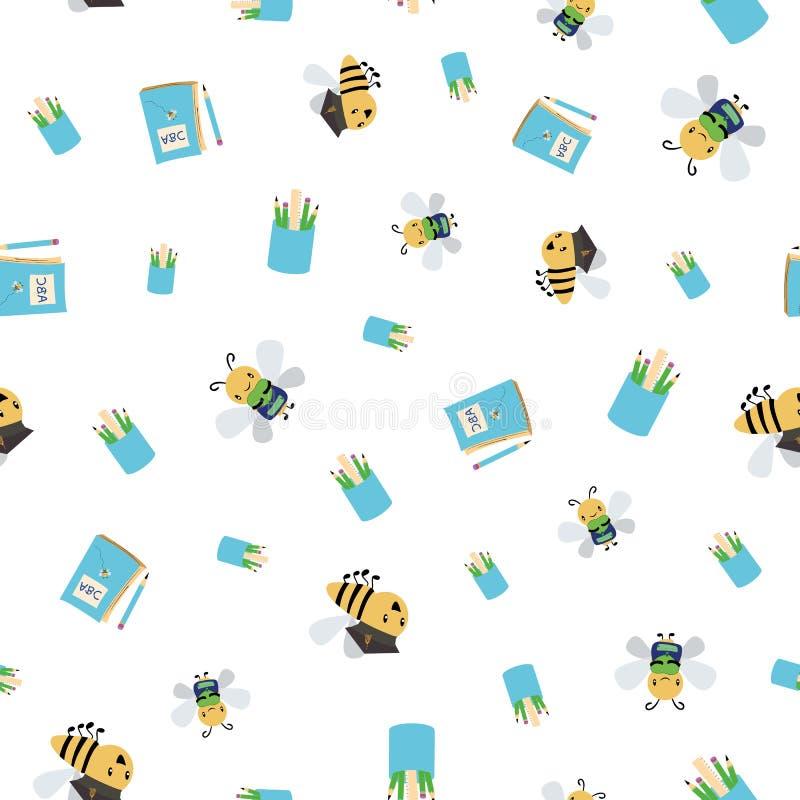 Милые занятые пчелы с книгами, сумками и карандашами идя назад к дизайну школы Безшовная картина вектора на белой предпосылке иллюстрация вектора