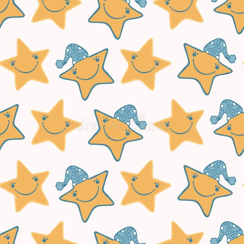 Милые звезды мультфильма со шляпой и счастливой усмехаясь стороной иллюстрация вектора