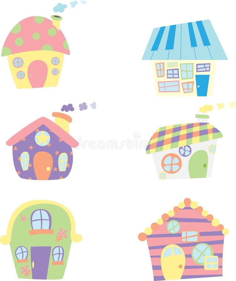 милые иконы домов иллюстрация штока