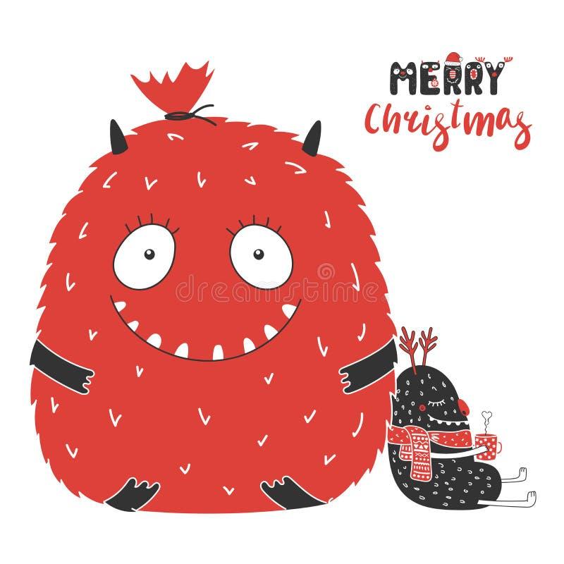 Милые и смешные изверги рождества иллюстрация вектора