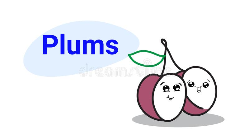 Милые комические персонажи мультфильма слив с усмехаясь руки kawaii emoji сторон едой свежих фруктов стиля счастливой вычерченной бесплатная иллюстрация