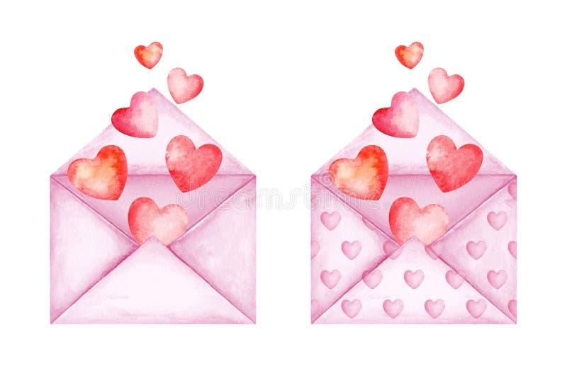 Милые конверты сообщения любов Пинк и красные воздушные шары сердца Хорошие новости r E иллюстрация штока
