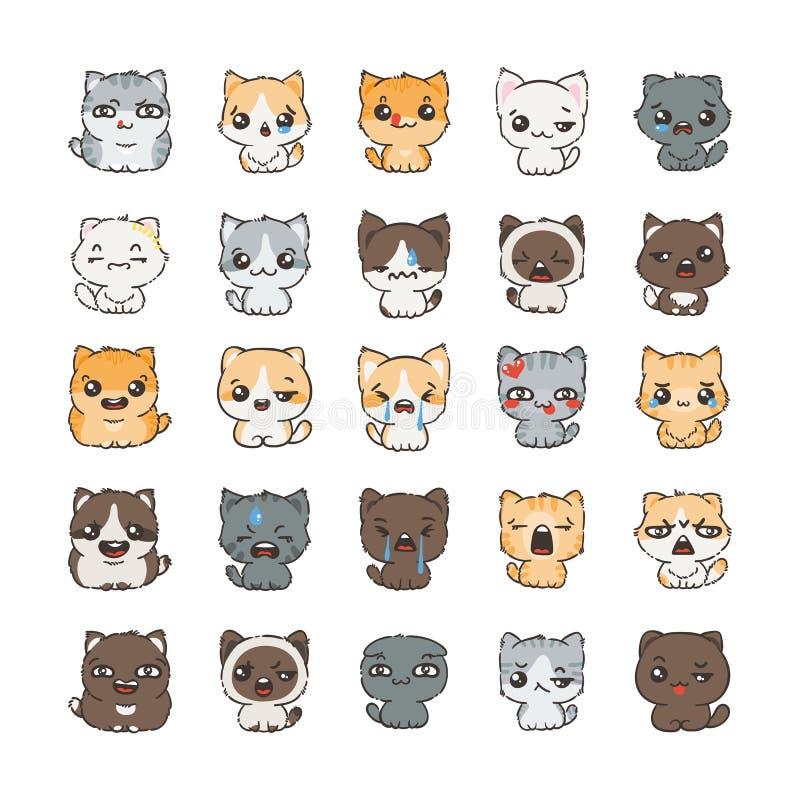 Милые коты и собаки шаржа с различными эмоциями Собрание стикера иллюстрация штока