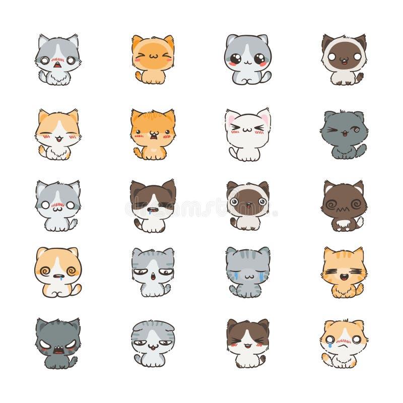 Милые коты и собаки шаржа с различными эмоциями Собрание стикера бесплатная иллюстрация