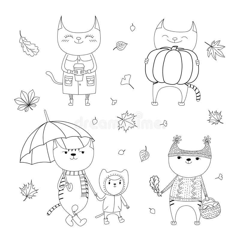 Милые коты осени крася страницы иллюстрация вектора