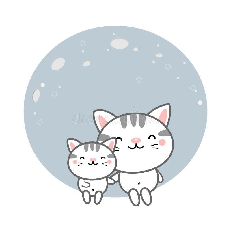 Милые коты сидят на луне иллюстрация штока