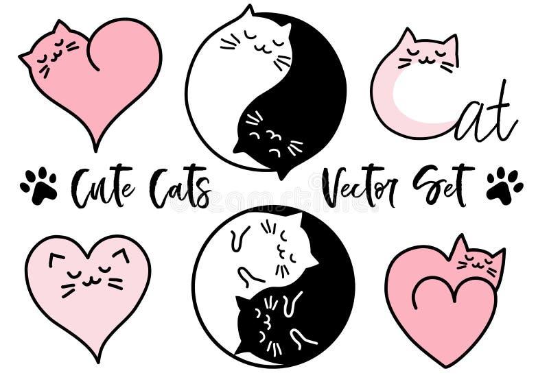 Милые коты yang yin, комплект вектора иллюстрация штока