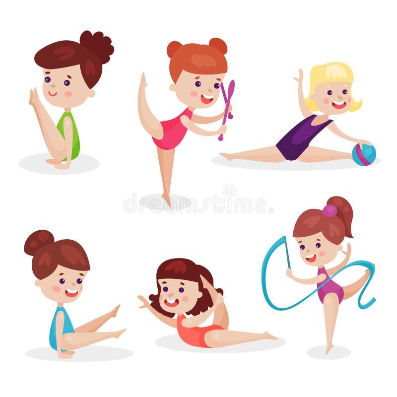 Милые красивые маленькие девочки выполняя гимнастический комплект тренировок, молодые гимнасты работая с vec ленты, шарика и клуб иллюстрация вектора