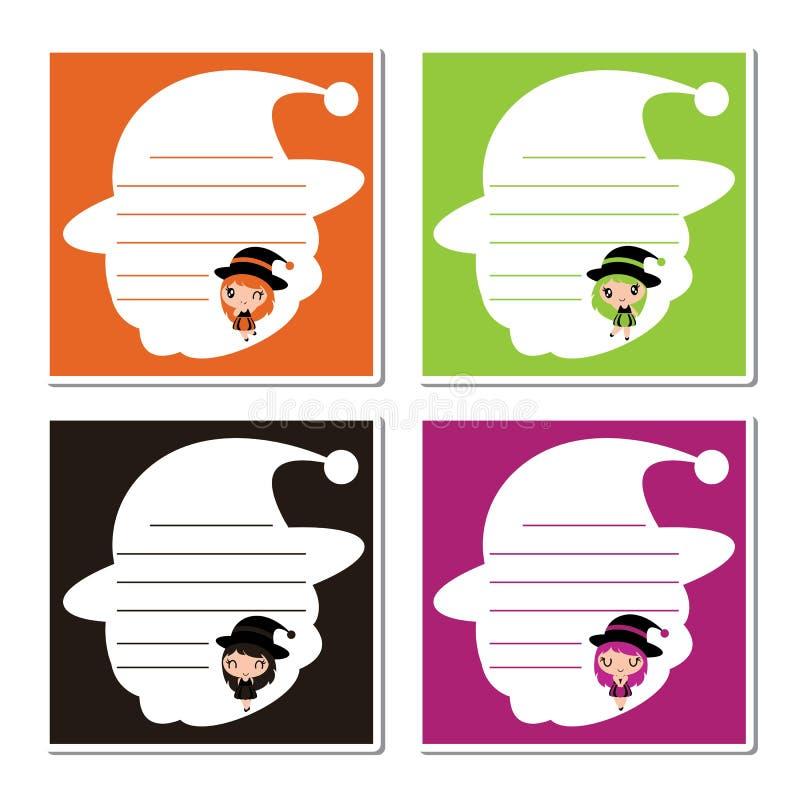 Милые красочные девушки ведьмы на иллюстрации шаржа рамки шляпы ведьмы для бумаги памятки хеллоуина конструируют иллюстрация вектора