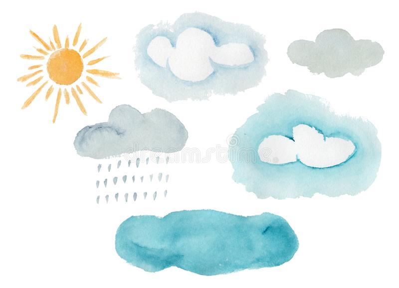 Милые красочные элементы погоды акварели иллюстрация штока