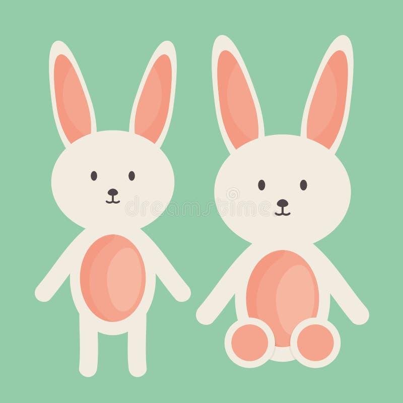 Милые кролики заполнили игрушки иллюстрация штока