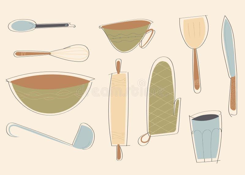 Милые кухонные приборы, иллюстрация вектора бесплатная иллюстрация