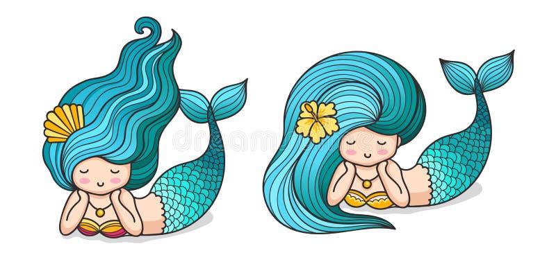 Милые лежа мечтательные русалки с длинными голубыми волосами иллюстрация штока
