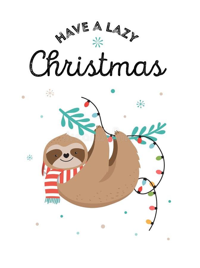 Милые лени, смешные иллюстрации рождества с костюмами Санта Клауса, шляпа и шарфы, поздравительные открытки установили, знамя иллюстрация штока