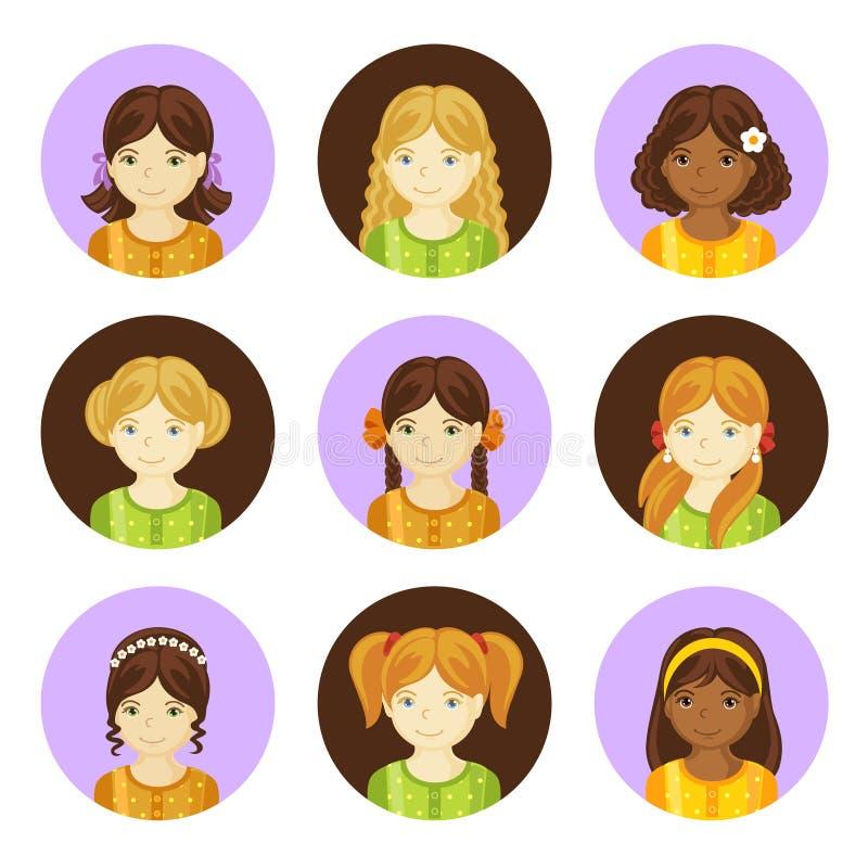 Милые маленькие девочки с различной прической иллюстрация вектора