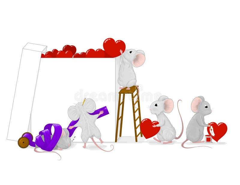 Милые маленькие мыши подготавливая настоящий момент влюбленности заполнили с красными сердцами стоковое изображение