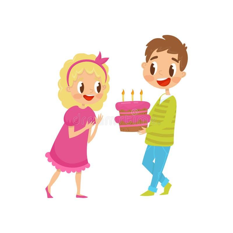 Милые маленькие ребеята на партии, мальчике держа иллюстрацию вектора шаржа именниного пирога на белой предпосылке иллюстрация вектора