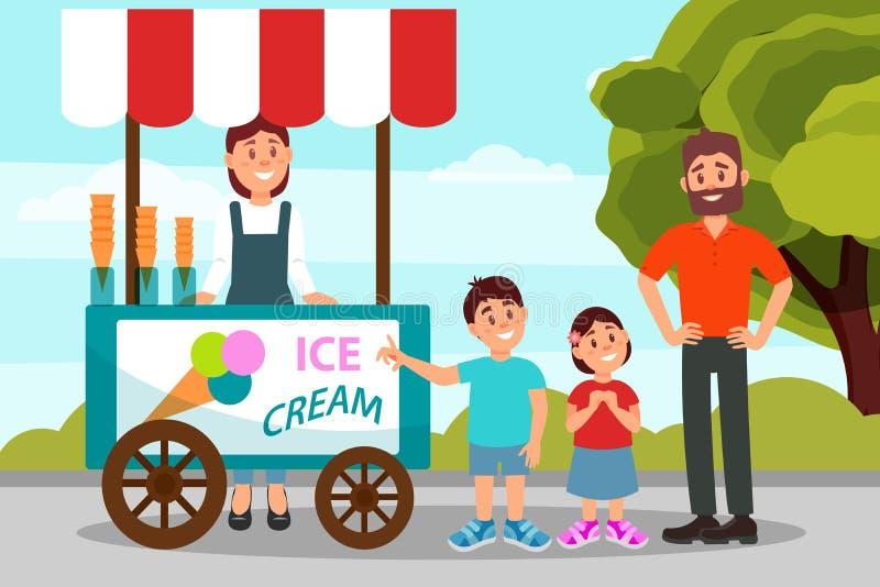 Милые маленькие ребеята спрашивая, что его отец купил мороженое Папа тратя время с его дочерью и сыном в парке города плоско иллюстрация штока
