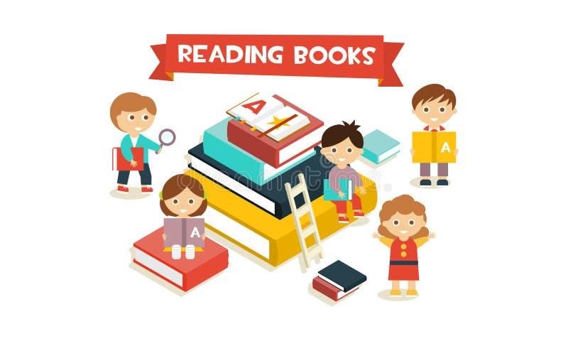 Милые маленькие ребята сидя и читая на гигантском стоге книг, иллюстрации вектора концепции книг чтения иллюстрация вектора