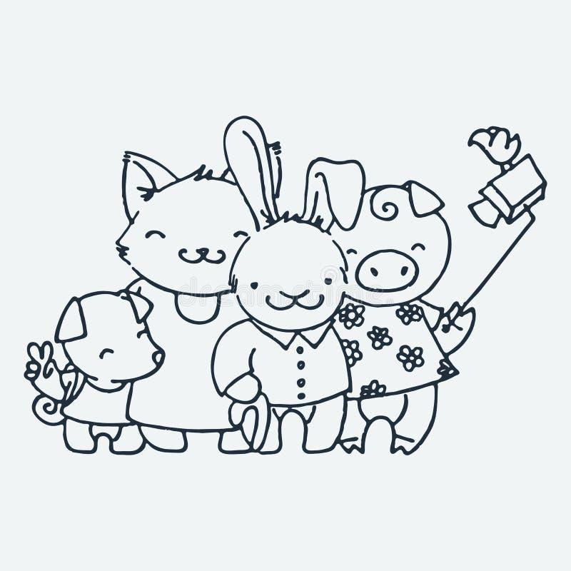 Милые маленькие туристские животные, иллюстрация вектора руки мультфильма вычерченная Милый для страниц расцветки младенца, печат иллюстрация вектора