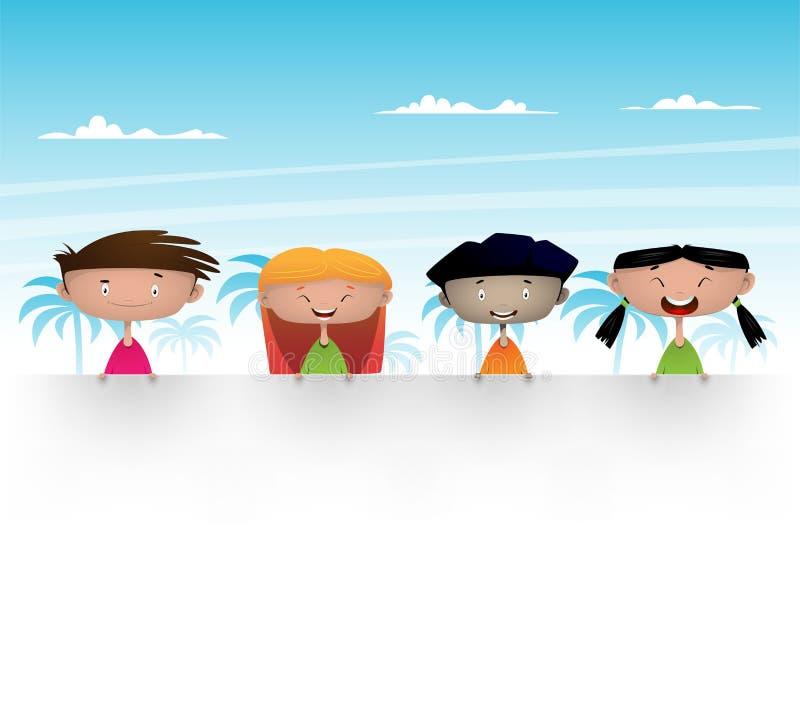 Милые многокультурные дети иллюстрация штока