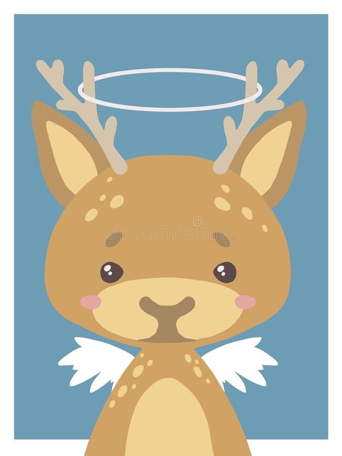 Милые мультфильмы вводят рисовать животного vecor питомника оленя в моду ангел-хранителя с венчиком и крыльями бесплатная иллюстрация
