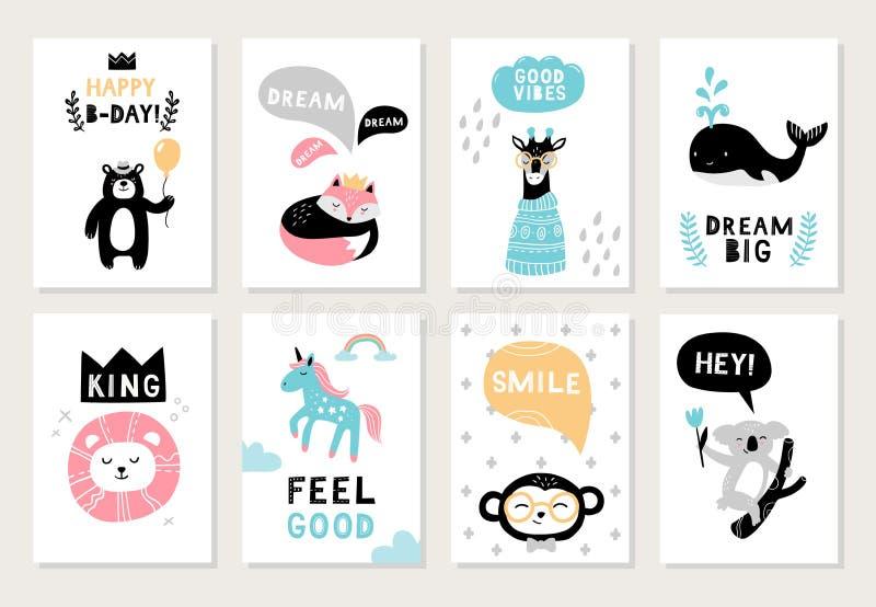 Милые нарисованные вручную животные на открытках: медведь, лиса, жираф, уплотнение, лев, единорог, обезьяна и коала иллюстрация вектора