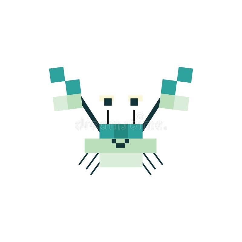 Милые нео иллюстрация вектора краба зеленого цвета 8 мяты сдержанная Clipart пиксела Sealife иллюстрация штока